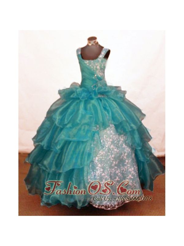 Luxurious Ball Gown Off The Shoulder Neckline Floor-Length Blue Beading Little Girl Pageant Dresses    http://www.fashionos.com  http://www.facebook.com/quinceaneradress.fashionos.us   The beauty of the crown will be the perfect match for this gown full of luxury and style. This dress features beaded straps on a straight cut neckline with half of the bodice sequined and the other half asymmetrically ruched gathering at side of waist by a colorful brooch detail.
