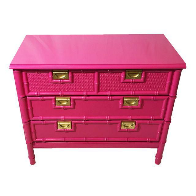 Image of Vintage Faux-Bamboo Pink Chest of Drawers