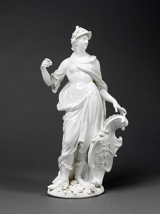 Figure of Minerva, Johann Joachim Kändler (modelled), 1747, Meissen, Germany. Glazed porcelain l Victoria and Albert Museum