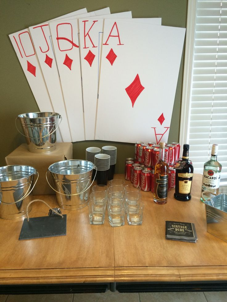 Guys poker night! Beverage table