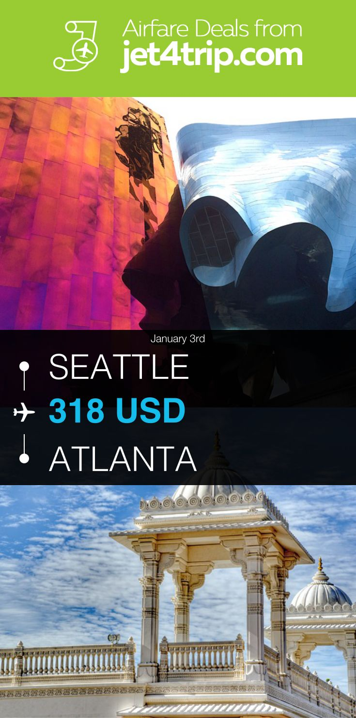 Flight from Seattle to Atlanta for $318 by Spirit Airlines #travel #ticket #deals #flight #SEA #ATL #Seattle #Atlanta #NK #Spirit Airlines