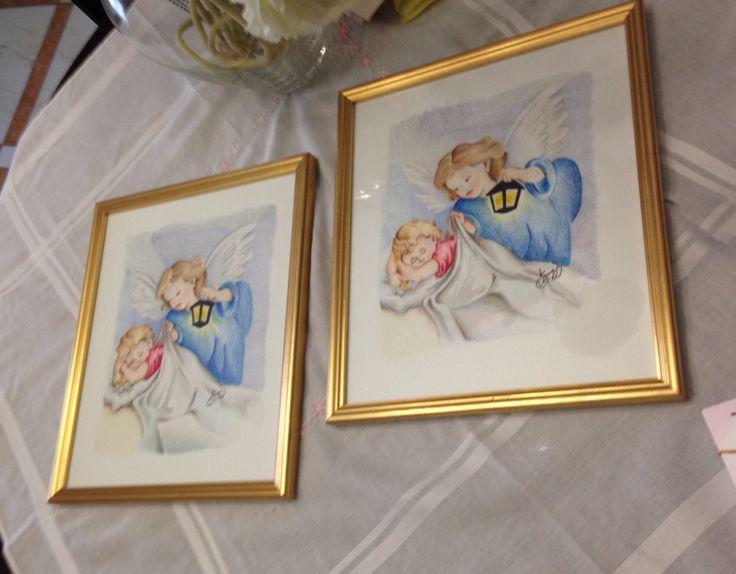 """Quadri """"angeli"""" dipinti a pastello e cornice oro artigianale. Anna Stile"""