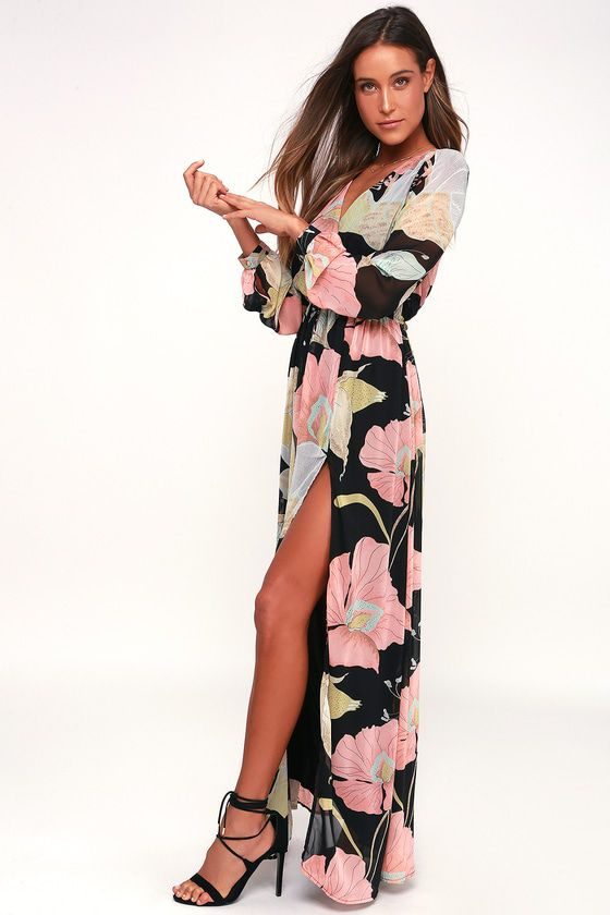 a2ff000f9ba6b ... of the Wondrous Water Lilies Black Floral Print Maxi Dress! Floral print  ripples across chiffon as it shapes this stunning long-sleeved maxi dress.