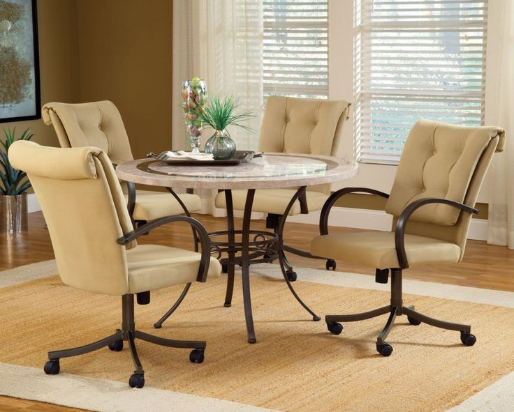 Dining Room Chairs Upholstered, Padded Dining Room Chairs With Casters