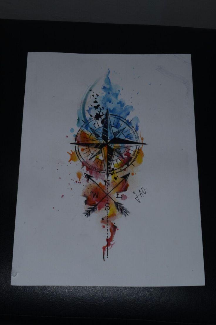 Compass bússola direção tattoo draw drawing watercolor watercolour aquarela Plus