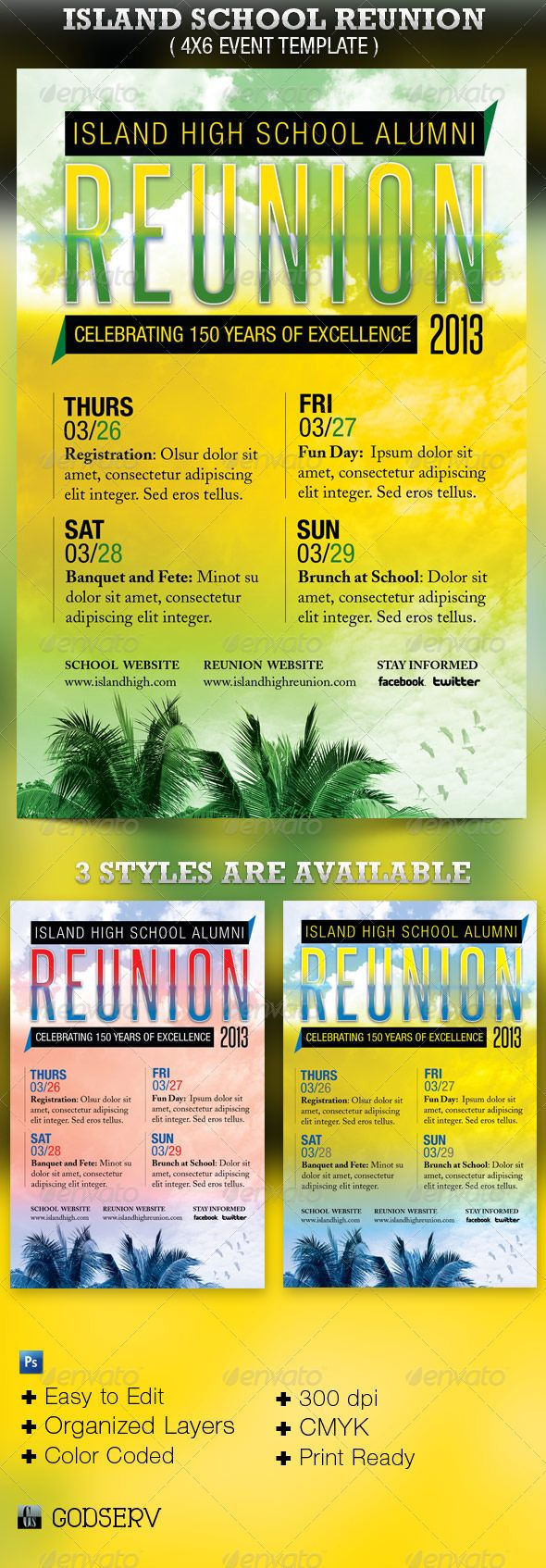 Island School Reunion Flyer Template - $6.00