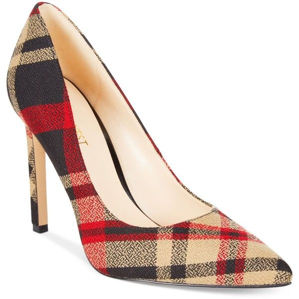 Nine West Tatiana Pumps ($79) ❤ liked on Polyvore featuring shoes, pumps, madison plaid, nine west, stiletto heel pumps, tartan pumps, stiletto high heel shoes and party shoes