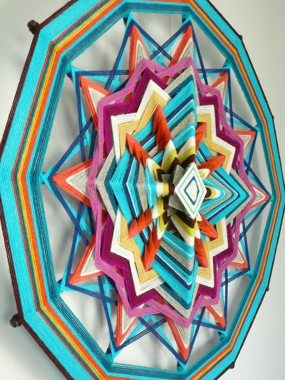 Sky Blue, an 24 inch, 12 sided, Ojo de Dios mandala, by Jay Mohler