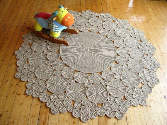 tappeto di 6ft Crochet iuta cerchio / materiali 100% naturali