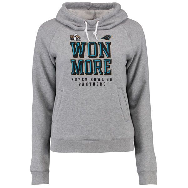 Carolina Panthers Nike Women's Super Bowl 50 Bound Won More Funnel Pullover Hoodie - Charcoal - $54.99