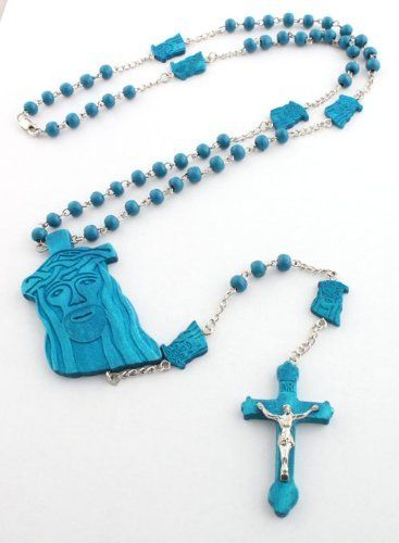 Blue Wooden Jesus Rosary Pendant with a 36 Inch Beaded Necklace & Jesus Heads JOTW. $9.95. 100% Satisfaction Guaranteed!. The cross pendant measurement is 2 inches top to bottom, 1 inch left to right.. Great Quality Jewelry!. The Jesus head measurement is 2.25 inches top to bottom, 1 inch left to right.