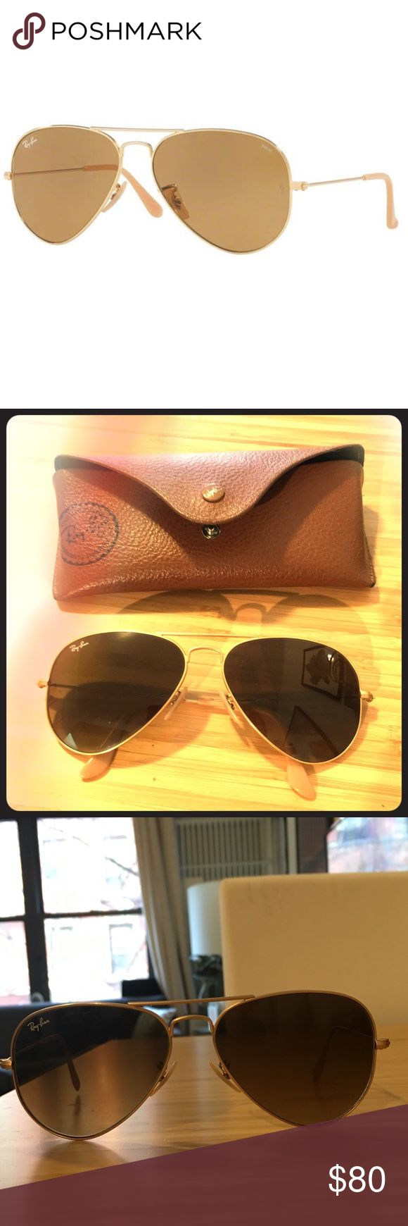 Ray Ban Aviators gold/Brown 55mm Lens RB-3025 Great preowned condition with no visible signs of wear. Was gifted a new pair so am selling these. Brown lenses with matte gold frame. 55mm lense. No scratches. Comes with Ray Ban case but am missing the cloth now, make me an offer! Ray-Ban Accessories Sunglasses