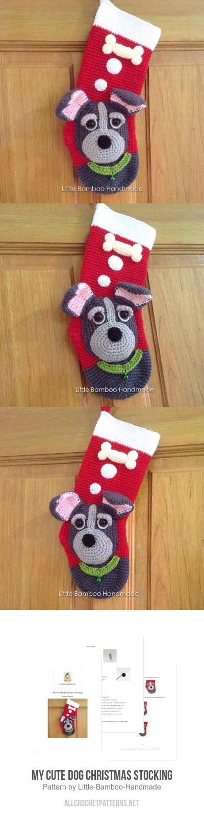 My Cute Dog Christmas Stocking crochet pattern