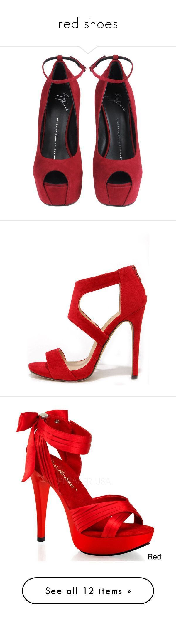 """red shoes"" by dorastyles-clxiv ❤ liked on Polyvore featuring RedShoes, shoes, heels, wedges, sapatos, zapatos, red ankle strap shoes, red wedge heel shoes, red wedge shoes and giuseppe zanotti shoes #giuseppezanottiheelsred #giuseppezanottiheelspeeptoe"