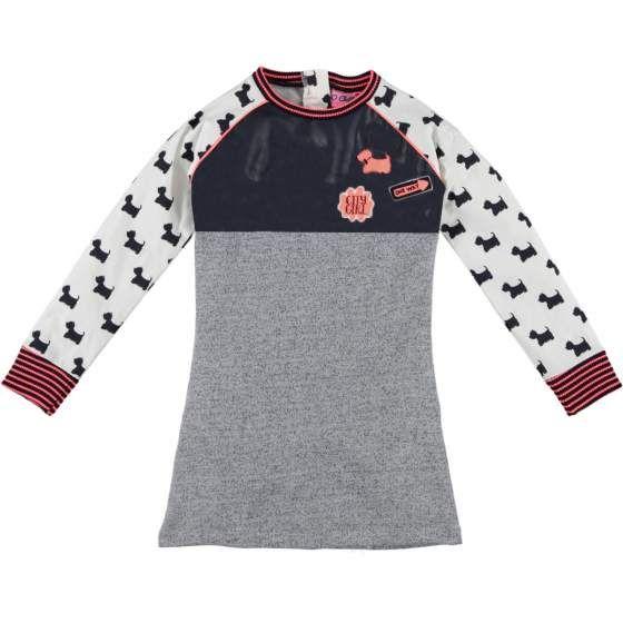 "O'CHILL ""Danique"" jurkje/kleedje in zwart en grijs, hondjesprint en rode accenten"