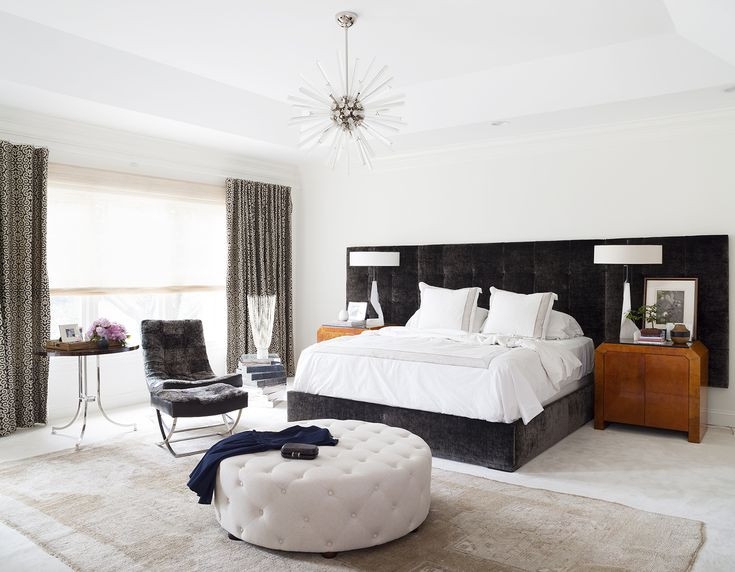Chic and modern black and white bedroom design by Ella Scott Design. Come see the dramatic Before & After: Fussy Traditional to Urban Chic! #bedroomdesign #blackandwhite #modern #interiordesignideas #benjaminmooremoonlightwhite #sputnik