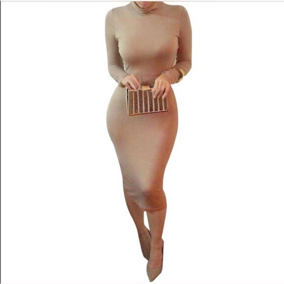 * Long sleeve camel bodycon dress Now available . Size L super cute cotton blend camel midi dress. Skin tight figure hugging silhouette. No trades. Not brand listed,  just for exposure. Michael Kors Dresses Midi
