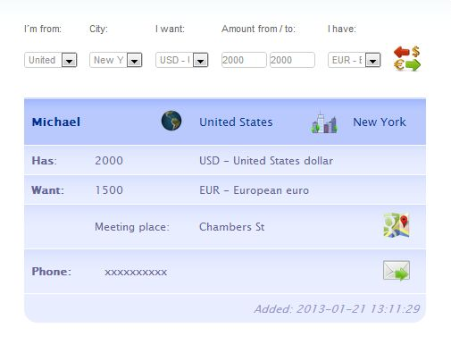 If your search will return results, you'll see a panel with information about your request. http://www.currencymeeting.com/about.php