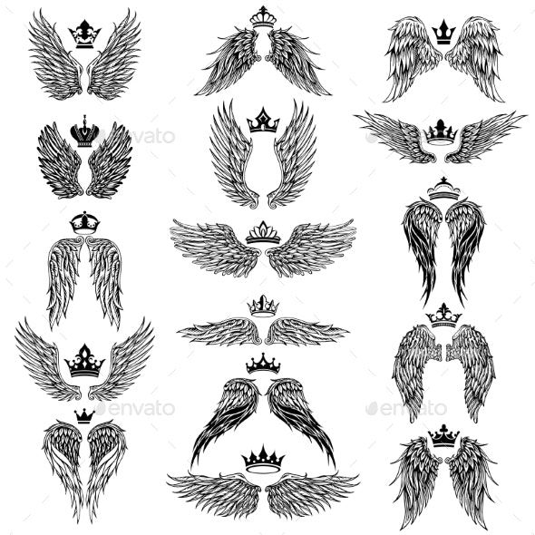 Wings With Crowns Vector Silhouettes By Azzzzya Graphicriver Eagle Wing Tattoos Wings Tattoo Eagle Tattoos