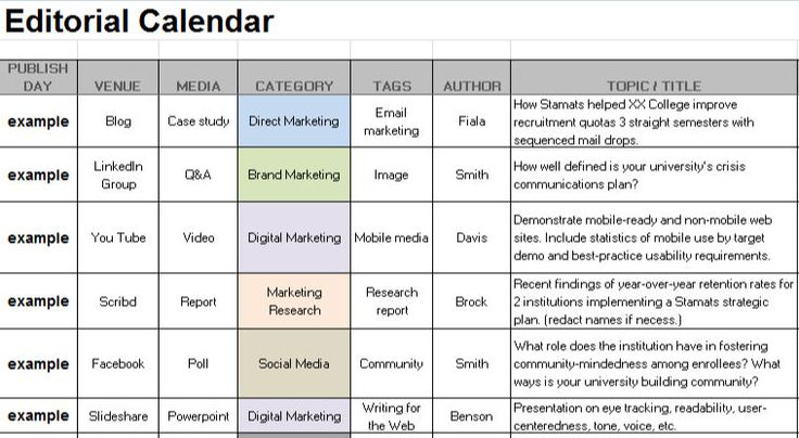 Sample Editorial Calendar Dwcsm DwcK  Dwcsm
