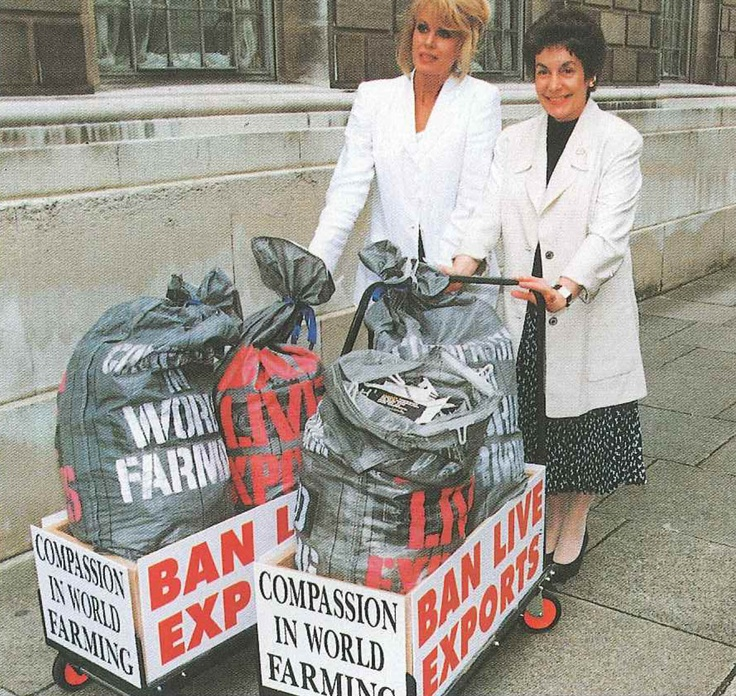 Joanna Lumley with agriculture minsiter Gillian Shepherd in 1994.