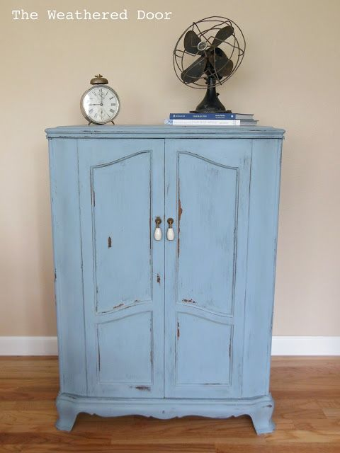 The Weathered Door: Light Blue French Cabinet