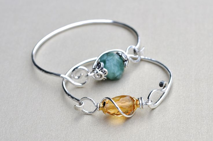 """Inspiration photo - The gemmy hug.. our most popular bangle that we custom make for our customers with the """"JUST RIGHT"""" gemstone for them :)"""
