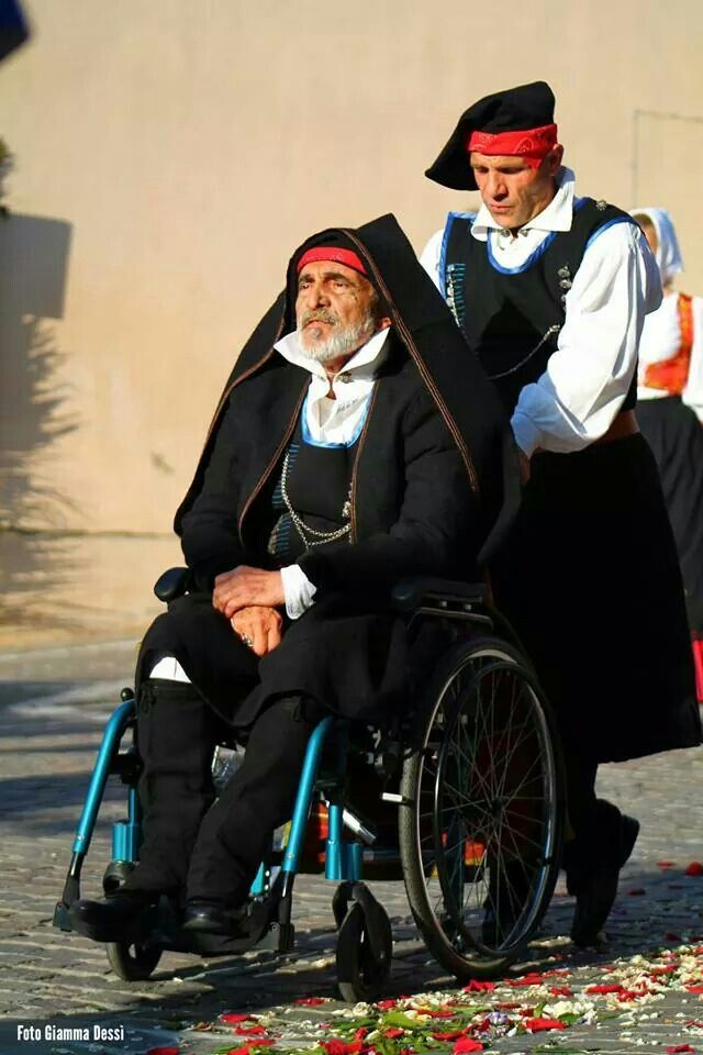 Zio Delfo in costume sardo. Sardinian traditional costume.