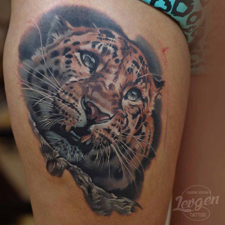 396 best images about animals tattoo on pinterest lion for Leopard tattoo on thigh