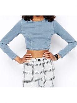 Blue Long Sleeve Zipper Back Tight Denim Crop Tops