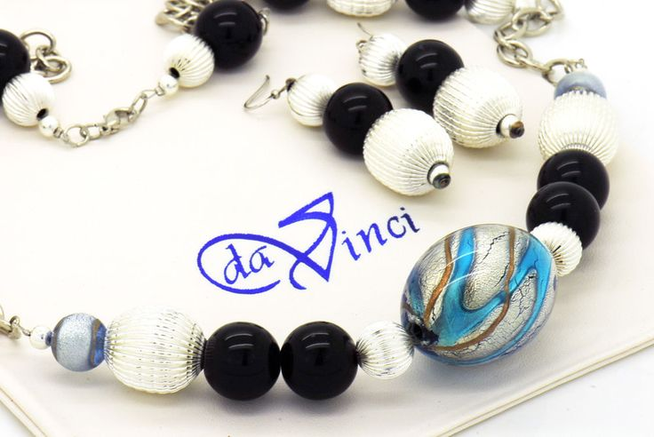 Venetian Glass  Murano Lampworked Glass Italian Designer Murano Beaded Necklace and matching Earrings Sterling Silver- Limited Edition- Offers welcome