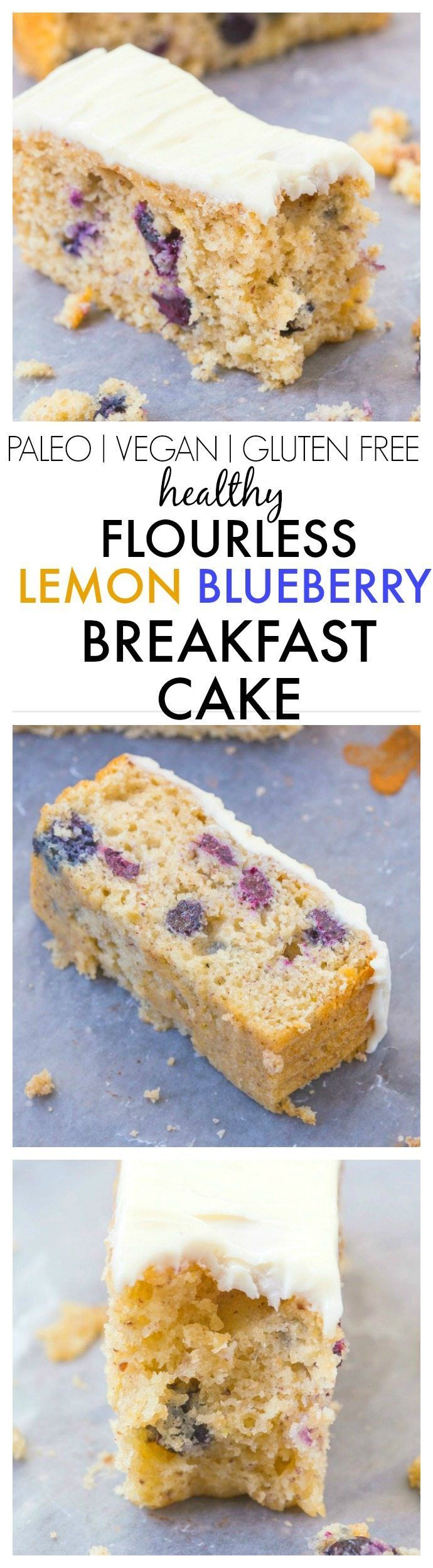 Healthy Flourless Lemon and Blueberry Breakfast Cake- Light and fluffy on the inside, tender on the outside with a hint of citrus; have a guilt free dessert for breakfast- NO butter, oil, flour or sugar! {vegan, gluten free, paleo recipe}- http://thebigmansworld.com