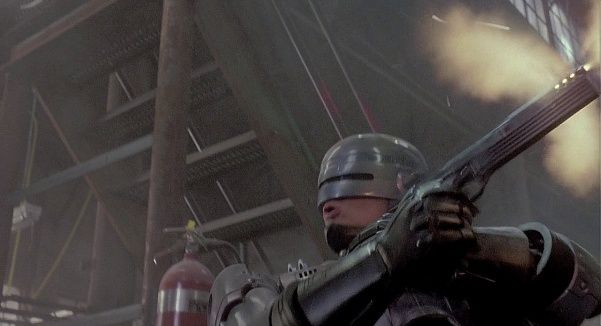 RoboCop (1987) - RoboCop shows that he can fire his Auto-9 without targeting visually.