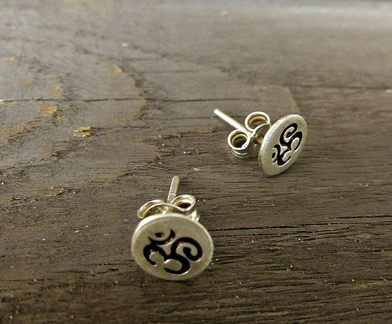 Om earrings, Yoga post earrings, Sterling Silver studs, Sterling Silver, post, Om earrings. So Cool ‪Charms #‬earrings. ‪#Minimalist‬ #‪jewelry‬. Just because less is more. https://www.etsy.com/shop/SoCoolCharms