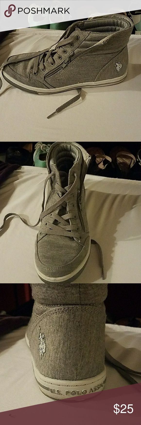 US Polo Association high top sneakers Grey and white sneakers U.S. Polo Assn. Shoes Sneakers