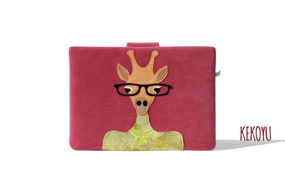 MacBook Tasche, Lady Giraffe MacBook Hülle, MacBook Air 13 Laptop, MacBook Pro 13 und 15 Cover Handmade Kekoyu Animals Friends