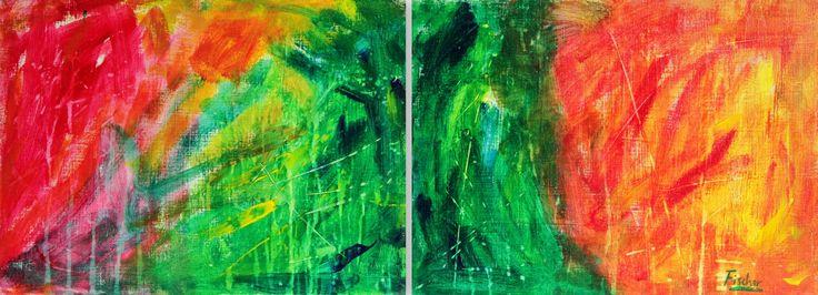 'Awakening of life', acrylic on canvas, 80x40cm, 2012 #art #painting #artist #acrylic #abstract #colorful #canvas #fischerart