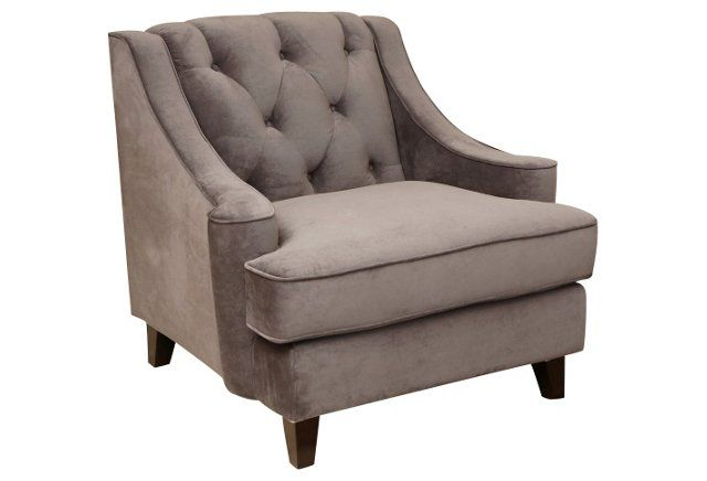 Addison Tufted Velvet Chair, Gray