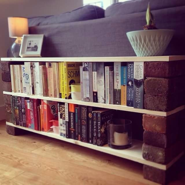 Shelf To Hide Back Of Sofa In Open Plan Lounge Bricks