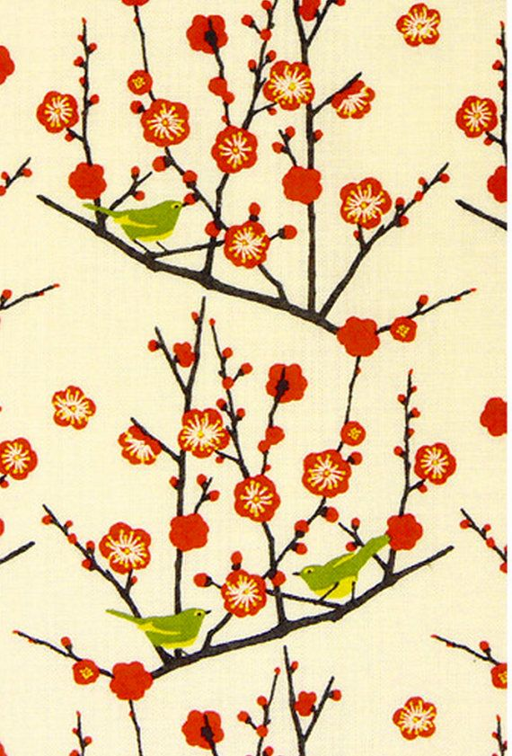Japanese Tenugui Cotton Fabric, Ume Flower, Plum Blossom Design, Botanical Fabric, Japanese Bush Warbler, Bird, Hand Dyed Art Fabric, h212