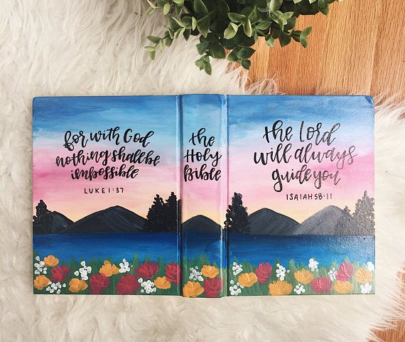 Hand painted bibles by SincerelyJulieCo! I have been dwelling on this for quite some time and I am so excited to finally bring this idea to life! HOW IT WORKS: 1. Pick your theme! There are a couple different options in my shop, but if none of them fit your vision, I can do a custom order. 2. Pick your version! The bible I use is a single column ESV Journaling Bible. It has two inch margins that are perfect for including doodles or notes about the scriptures you are reading! However, if…