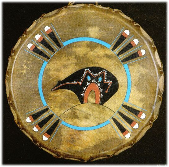 Hand painted Limited Edition SPIRIT BEAR drums Native American Indian artifacts