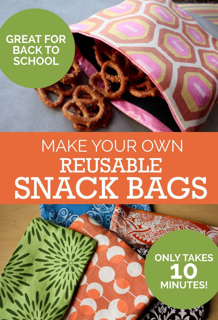 Tutorial: Make Your Own Reusable Snack Bags. Perfect Back To School project! So easy to make and handy to have. Plus, they'll save you money!