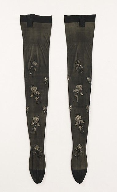Stockings, 1900–1910. French. The Metropolitan Museum of Art, New York. Brooklyn Museum Costume Collection at The Metropolitan Museum of Art, Gift of the Brooklyn Museum, 2009; Gift of Mercedes de Acosta, 1953 (2009.300.1855a, b)