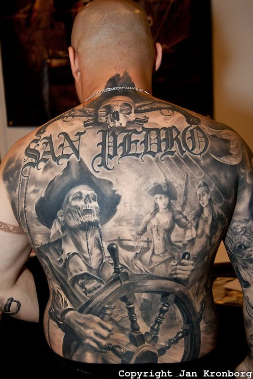 Copenhagen Inkfestival 2012. Full backpiece tattoo with pirate theme in black and grey.
