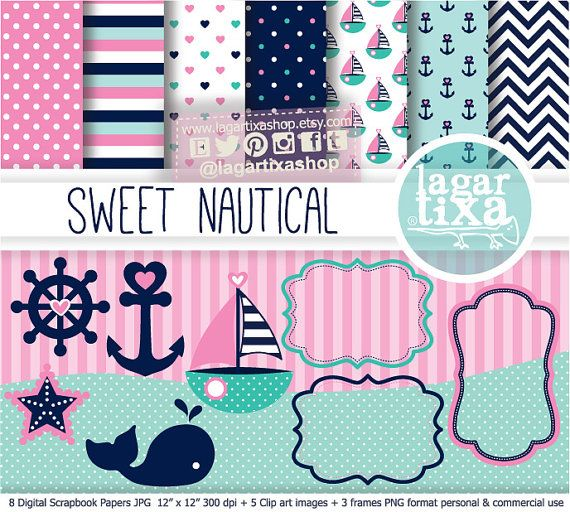 Pink Nautical Digital Paper Navy Teal Marine Turquoise Girly Background Blue marine chevron starfish stripes patterns boat anchors sailor