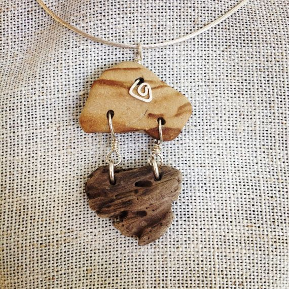 Tan and brown striped beach stone driftwood by santacruzseastones