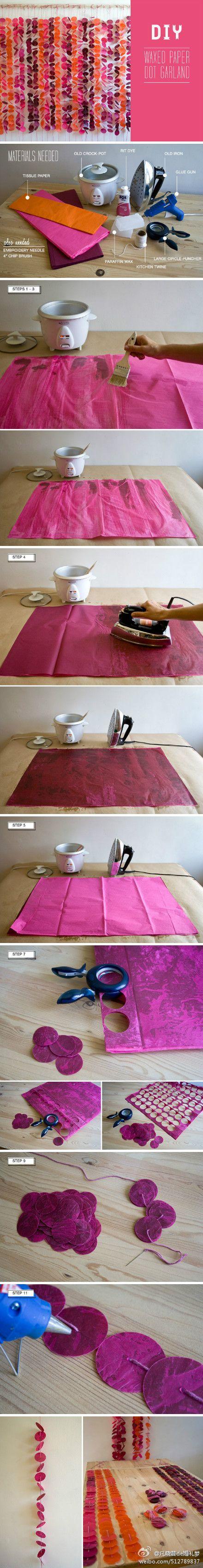 Waxed paper garland DIY
