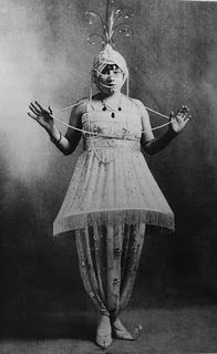 Denise Poiret, muse and wife to the chic French couturier Paul Poiret shows her costume for their infamous Arabian Nights Costume party. Ballets Russes inspiration