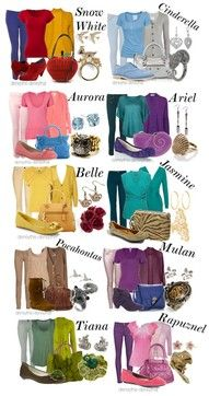 Casual Princess Fashion. Color inspirations for casual princess wear for kids.